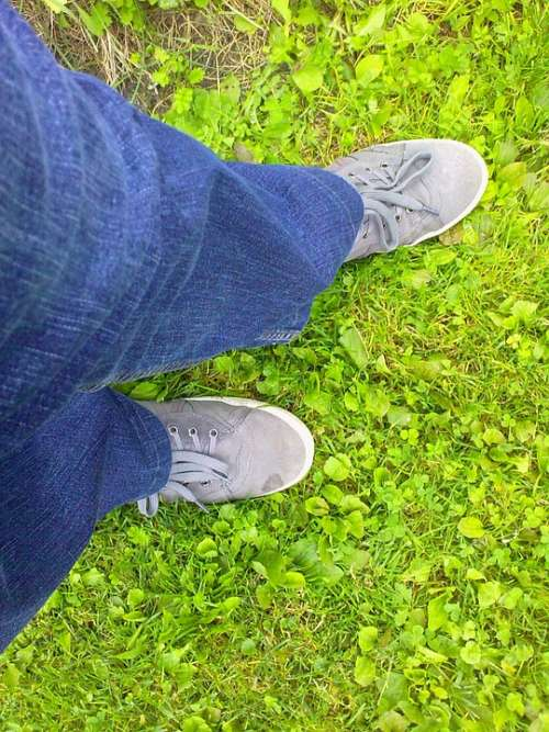 Boots Jeans Grass Green Blue Gray View From Above