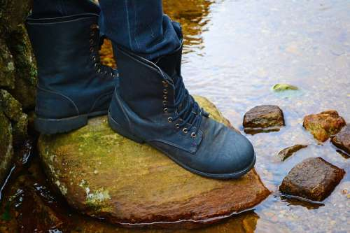 Boots Feet Water Water Way Safe Safety Rock
