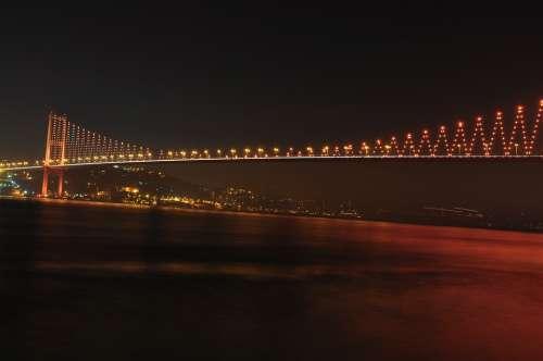 Bosphorus Bridge Bridge Night Lights City