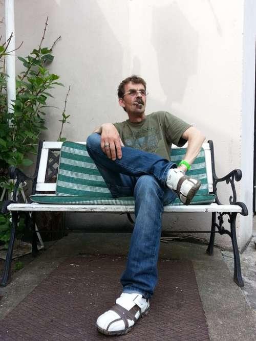 Boss Cool Cigar Smoking Man Sit Bank Casual