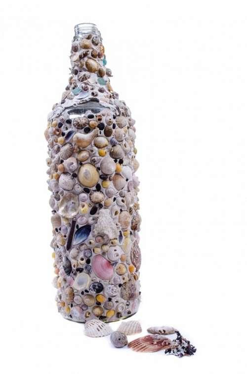 Bottle Seashells Shells Glass Art Sea Decoration