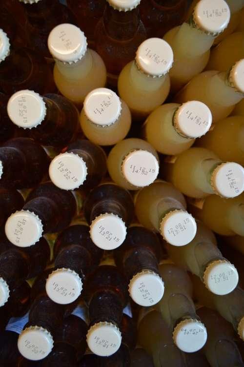 Bottles Caps Drinking Apple Juice Crate