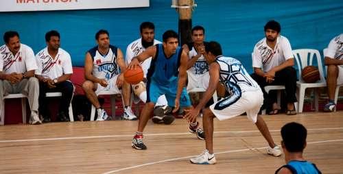 Bouncing Basketball Action Players Game Play Ball