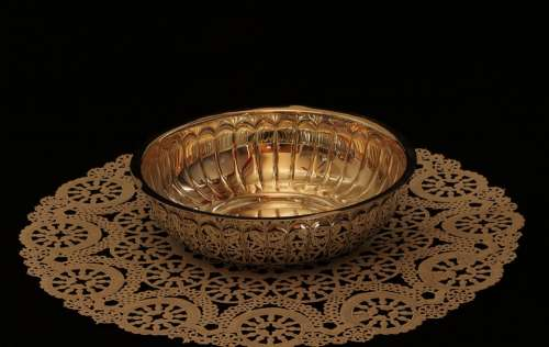 Bowl Metal Silver Candy Dish Doily Reflection