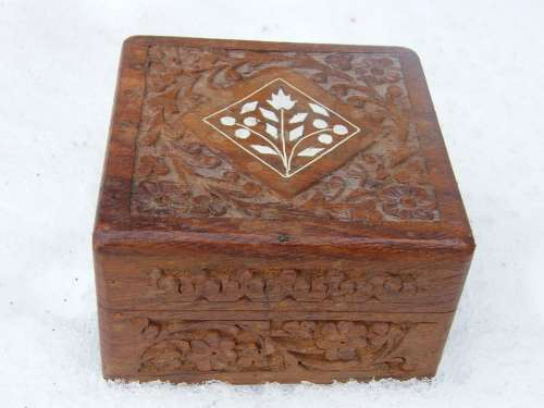 Box Brown Carved Casket Closed Jewelry Box