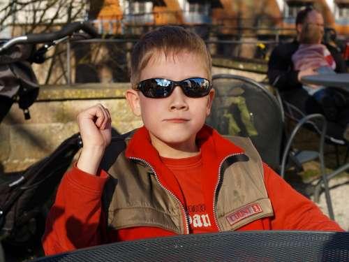 Boy Child Sunglasses Cool Sit Blond