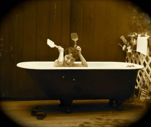 Boy Tub Antique Sepia Shoes Silly Bathing Bath