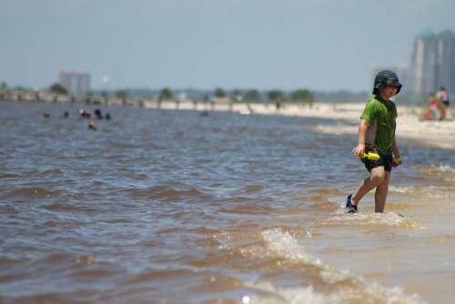 Boy Child Ocean Water Beach Coast Outdoorsplaying