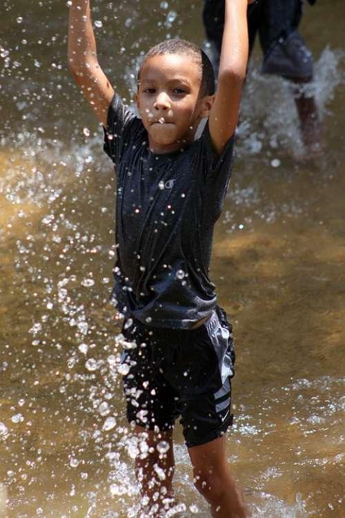 Boy Happy Young Playing Water Summer Fun