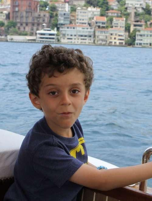 Boy Curly Hair Child Boat Kid Infant