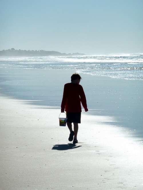 Boy Walk Bucket Alone Sand Beach Seaside Sea