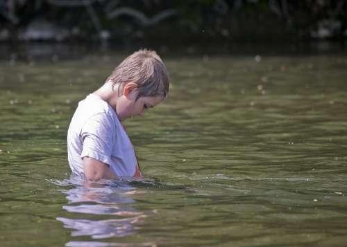 Boy Kid Child Childhood Water River Swimming