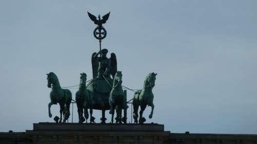 Brandenburg Goal Berlin Quadriga Close Up Landmark