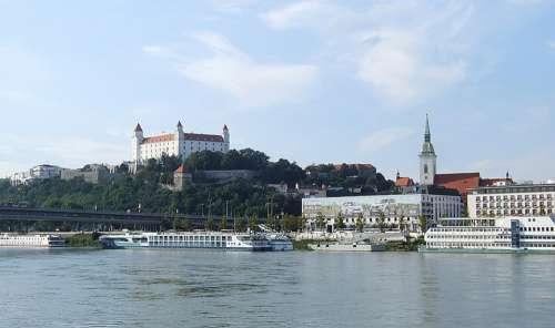 Bratislava The Danube Castle View River Old