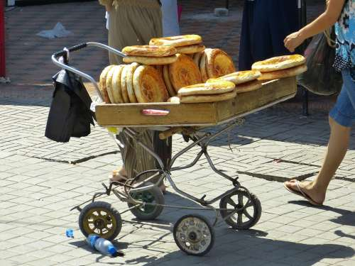 Bread Flat Bread Food Bread Stamp Uzbekistan Eat