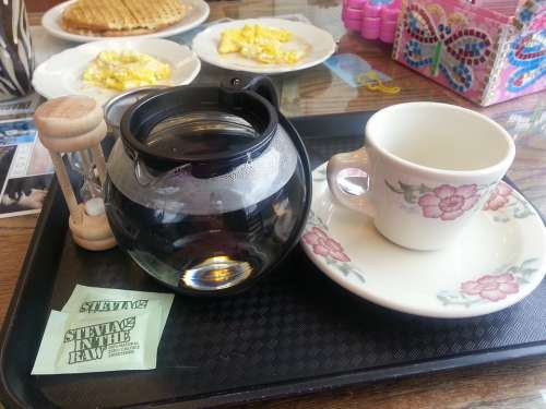 Breakfast Hot Tea Waffles Scrambled Eggs Stevia