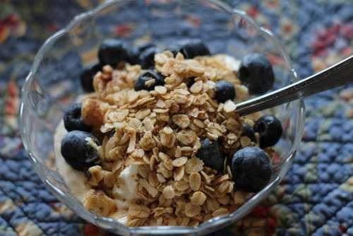 Breakfast Yogurt Healthy Blueberries Granola Food