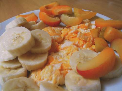 Breakfast Banana Eggs Nectarine Food Diet Tasty