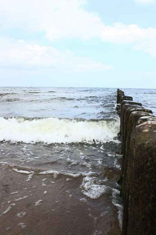 Breakwater Seashore Beach Sea Landscape