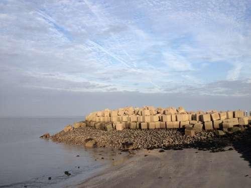 Breakwater Dike Wall Stones North Sea Stone Blocks