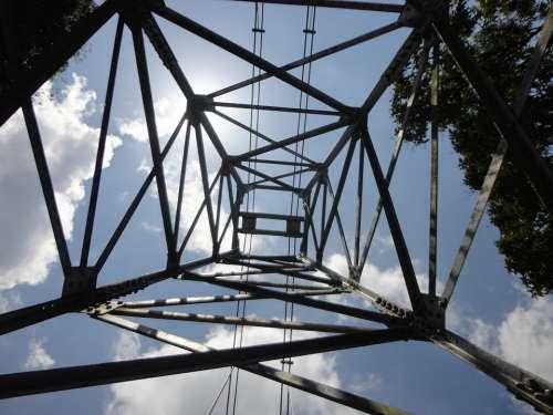 Bridge Iron Cables Sky Clouds Sri Lanka