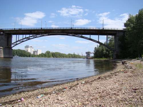 Bridge River Samarka Samara Russia Sky Clouds