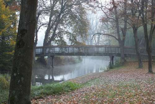 Bridge November Fog Morgenstimmung River