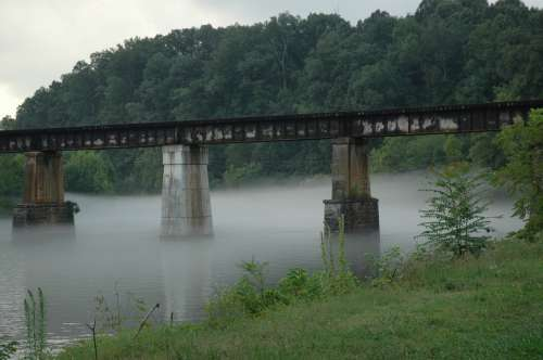 Bridge Railroad Trestle River Tennessee Fog