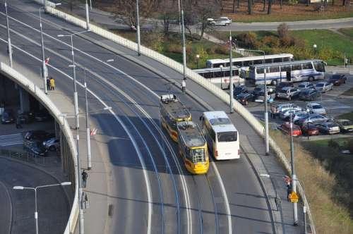 Bridge The Viaduct Street Bus Tram Warsaw