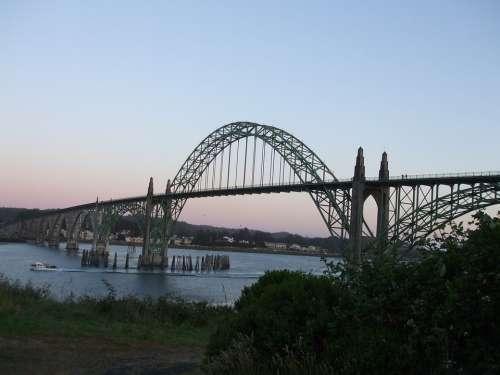 Bridge Arch Bay Oregon Steel-Arch Bridge Harbor