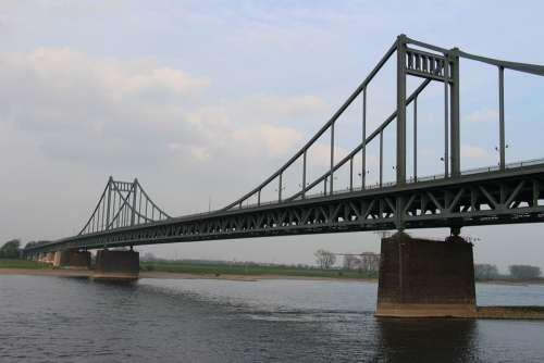 Bridge Rhine Water Uerdingen River Shipping
