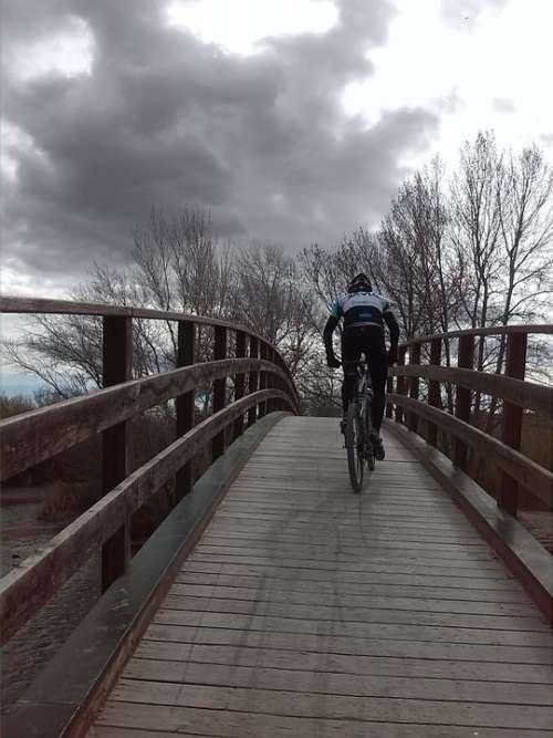 Bridge River Cross Path Urban Landscape Sport