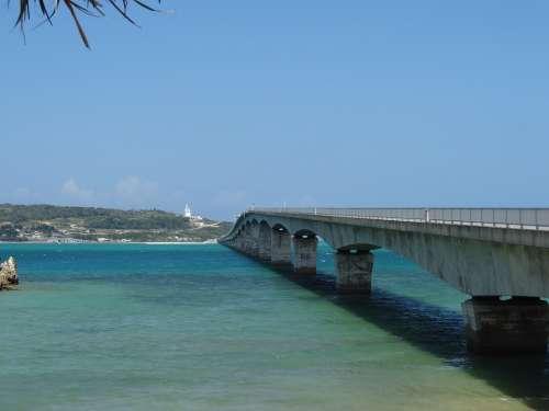 Bridge Okinawa Sea Japan Beach Summer Blue Sky