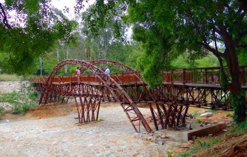 Bridge Wooden Cross-Over Pyramid Valley Karnataka