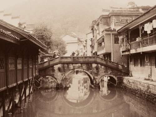Bridge Old Sepia Asian River Historic Grunge