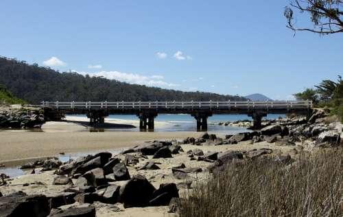 Bridge Sand Water Beach Scenic Nature Landscape