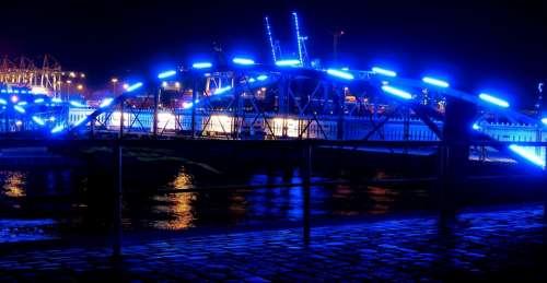 Bridge Illuminated Night Port Night Photograph