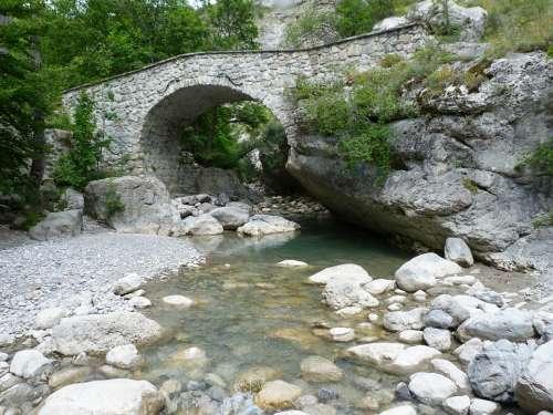 Bridge Old Mountain Torrent Old Bridge Alps