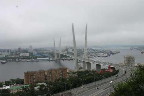 Bridge Street City Clouds Bad Weather Vladivostok