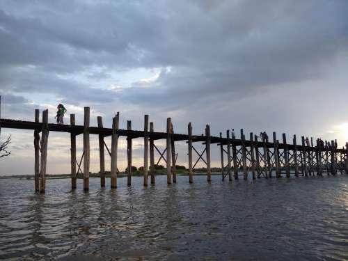Bridge Teka Burma Sunset Amarapura U Bein