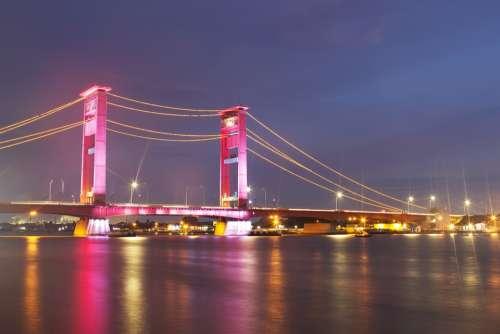 Bridge Indonesia Palembang Musi River Sumatra