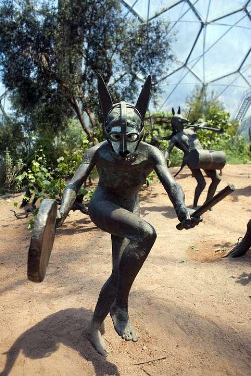 Bronze Statue Dancer Naked Dancer Woman Arid Biome