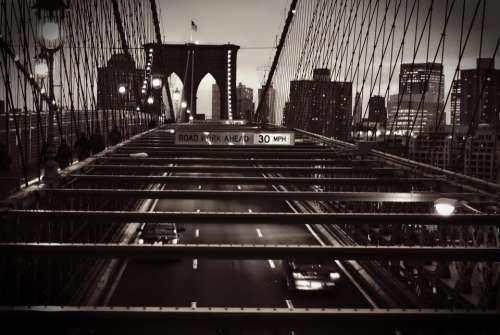 Brooklyn Bridge Black White New York America Usa