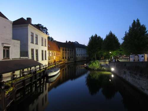 Bruges Rest Channel Boat Water Night