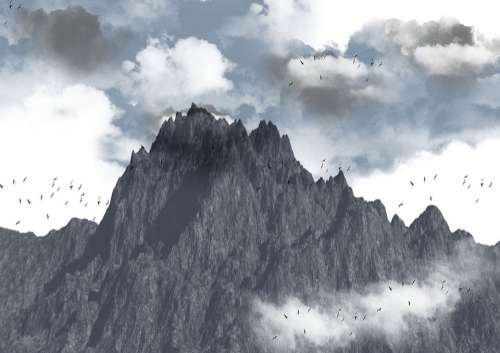 Brushes Background Mountain Clouds Birds Storm