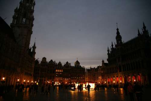 Brussels Square In The Evening