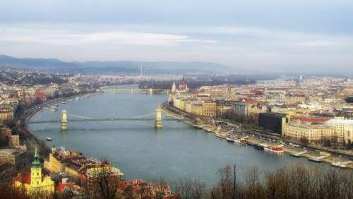 Budapest Bridge Landscape Scenic Outside River