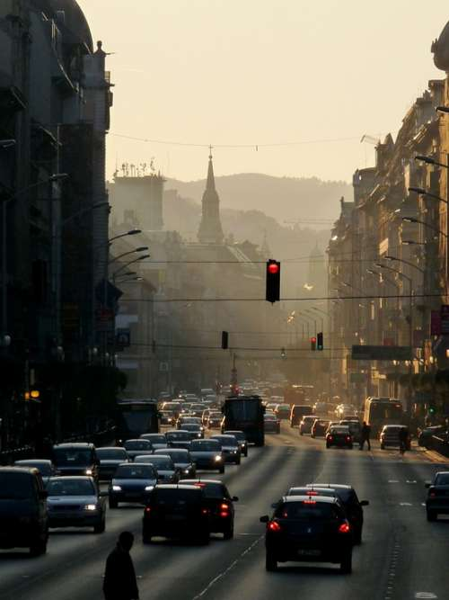 Budapest Street Evening Sun Rays Dusk Sundown