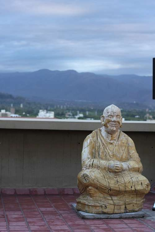 Buddha Statue Wood Spiritual Zen Carving