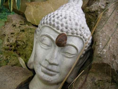 Buddha Stirnchakra Figure Stone Deity Rest
